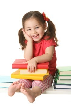 Preschool Girl with books